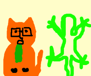 Hipster cat vomits and gecko