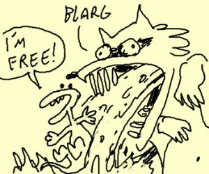 Mini dinosaur thrown up by cave raccoon