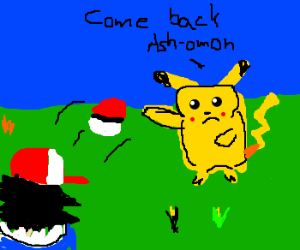 Picachu throwing pokeball at ash