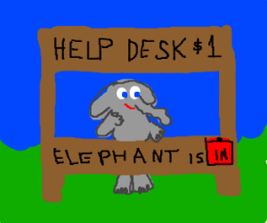 An elephant working on a helpdesk