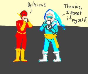 The Flash and Captain Cold drink coffee
