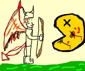 The Dragonborn defeats Pac Man.