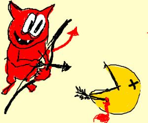 Satan shoots Pac-Man with arrow