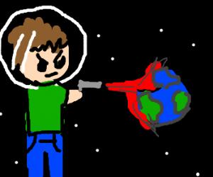Space giant destroys earth w laser gun