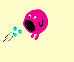 kirby swallowing an angry bird