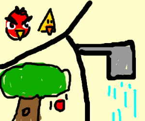 Angry bird drops apple in the shower