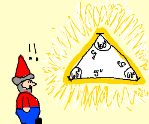 Gnome finds an equiliateral triangle.