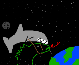 Shark rides invisible dinosaur in space