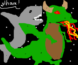 a shark rides a green dragon in thespace