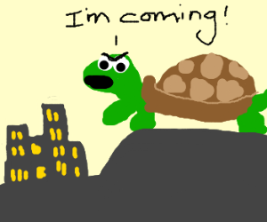 Giant turtle warning city he is coming