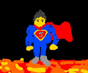 super hero walking across lava