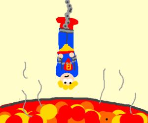 Blonde Hero Dangles over Lava. Well Crap