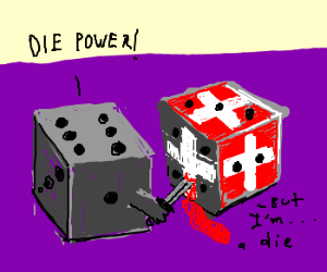 Swiss Die Stabbed by Regular Die