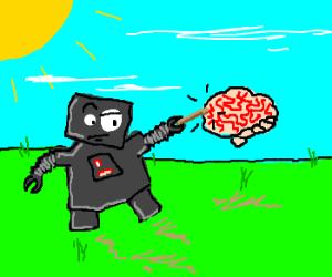 Robot prods a mans brain & he is unamuse