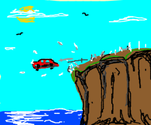 Car Driving Games >> A car going off a cliff drawing by Jimbono - Drawception