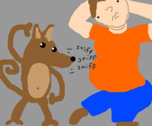 Monkey-Dog sniffs voluptuous man
