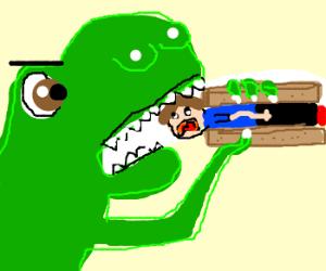 Dinosaur eats man sandwich