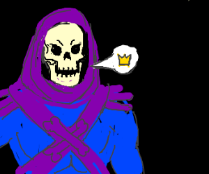 skeletor speaks using a tiny crown voice