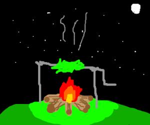 Grass roasting on an open fire