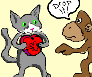 Monkey tells cat to drop the heart