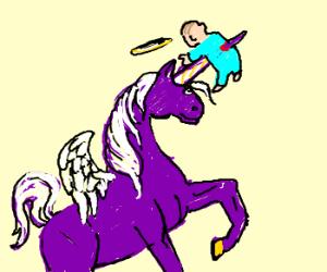 Purple unicon cyclops angel kills child