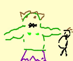 Hulk hits fat guy in the face