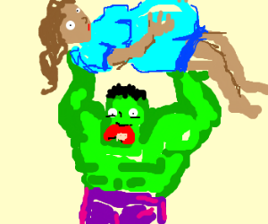 Hulk holds pregnant lady in the air