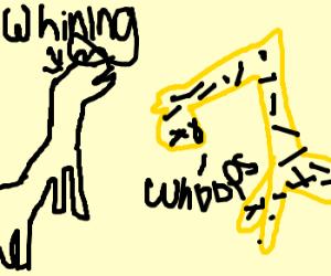 Zebra whines, giraffe's neck is broken