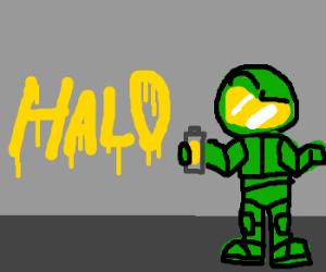 masterchief spraypaints halo logo