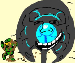Master Chief covered in mud halucinates