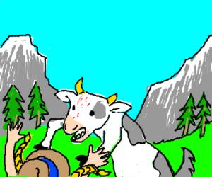 A cow-dog hybrid mauling Heidi