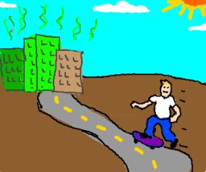 Man skateboards toward smelly city
