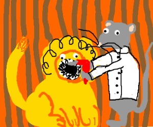 Dental Mouse drills Lions mouth.