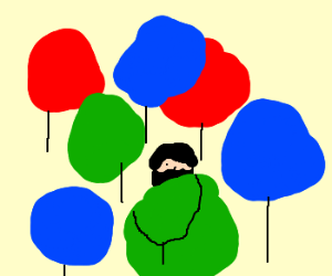 Ninja hiding in bunch of balloons