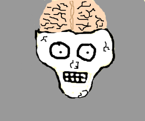 skull with huge brain and eyes