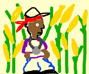 rap star lost in corn field
