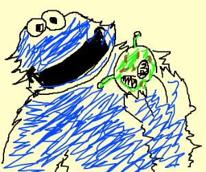 cookiemonster isn't afraid of aliencooki