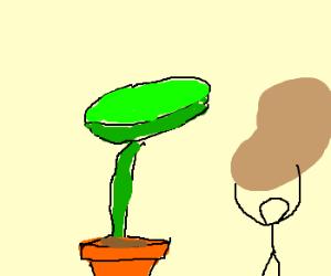 Venus flytrap stickfigure has a nut