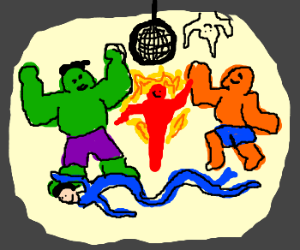 Hulk and Fantastic 4 have dance party.