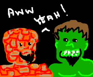 the thing and hulk sport new goatees