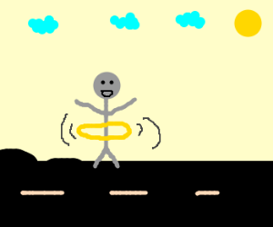 A Man Hula-Hooping Excitedly