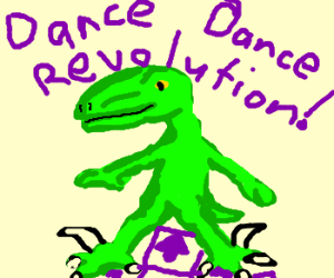 Mr. Velociraptor Tries His Hand At DDR