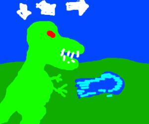 T-Rex doing a kamehameha