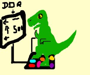 T-rex playing a dancing game