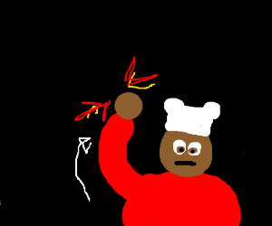 chef performs an uppercut in the dark