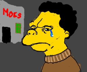 Moe crying at the bar