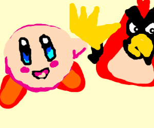 Kirby passes his crown to angry bird