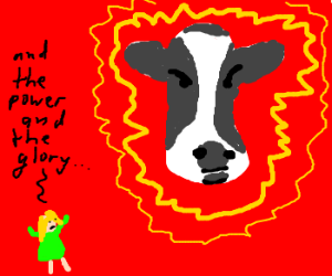 woman loves cow god
