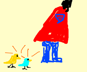 Birds check out the ass on superman