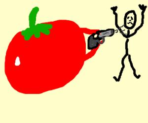 A tomato shooting a person